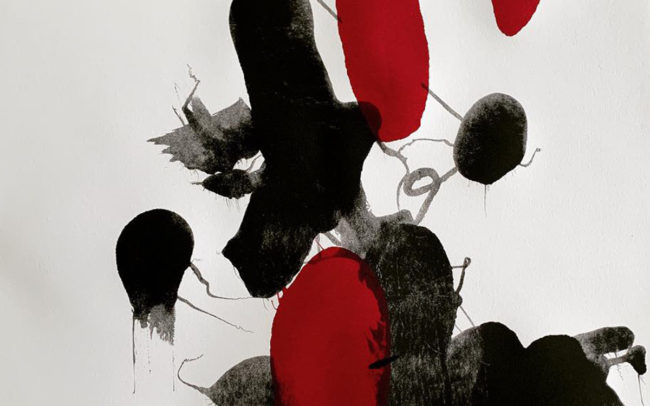 Pamela Dove Art | Unattached with Red 2018 Monotype Print
