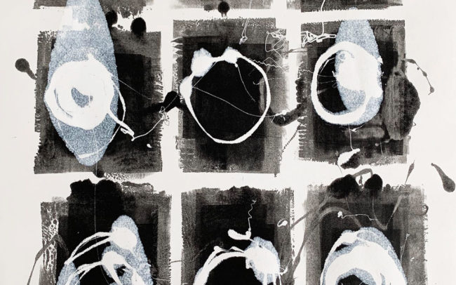 Pamela Dove Art | Untitled 100 Black and White Monotype Print