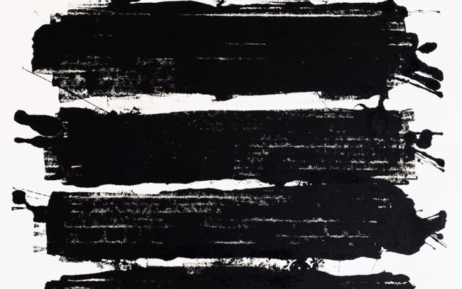 Pamela Dove Art Untitled 109-Black and White Monotype Print
